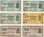 Banknotes Cologne. Stadt. Billets. 10 pf(3ex) série E40, F40, G39, 25 pf série HI, 50 pf 2ex) série EXII, HXII
