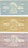 Banknotes Cologne. Stadt. Billets. 10 pf série A41, 25 pf série AIV, 50 pf série  AXIV 13.7.1921