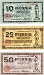Banknotes Cologne. Stadt. Billets. 10 pf série A41, 25 pf série CIV, 50 pf série  EXIV 13.7.1921