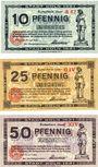 Banknotes Cologne. Stadt. Billets. 10 pf série A42, 25 pf série GIV, 50 pf série  FXIV 13.7.1921