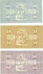 Banknotes Cologne. Stadt. Billets. 10 pf série A42, 25 pf série HIV, 50 pf série  GXIV 13.7.1921
