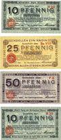 Banknotes Cologne. Stadt. Billets.10 pf série H32, 25 pf BaVIII, 50 pf  FX 1.10.1920, 10 pf B35, 3.11.1920