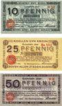 Banknotes Cologne. Stadt. Billets. 10 pf série H32, 25 pf série Ba VIII, 50 pf série DX 1.10.1920