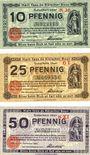 Banknotes Cologne. Stadt. Billets. 10 pf série K36, 25 pf série G1, 50 pf série KXI 31.12.1920