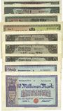 Banknotes Cologne. Stadt. Billets. 50000 (2ex), 500000, 2 millions, 1 million (3ex), 10 millions mk (2ex)