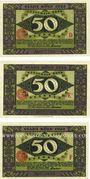 Banknotes Cologne. Stadt. Série de 3 billets. 50 pf (3ex) série D, E1, F 12.1.1922
