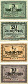 Banknotes Cottbus. Stadt. Billets. 5 pf, 20 pf, 1/2 mark série II, 10 pf série IV - 31.12.1918