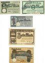Banknotes Crefeld. Stadt. Billets. 5 mk (2ex), 10 mk (2ex), 20 mk 21.10.1918, cachet ENTWERTET