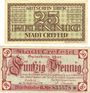 Banknotes Crefeld. Stadt. Billets. 50 pf 25.9.1919 ; 25 pf 6.11.1919