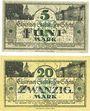 Banknotes Cüstrin (Kostrzyn, Pologne). Stadt. Billets. 5 mark, 20 mark 19.11.1918