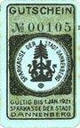 Banknotes Dannenberg. Sparkasse der Stadt. Billet. 50 pfennig n. d. - 1.1.1921