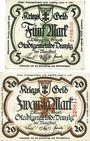 Banknotes Danzig (Gdansk, Pologne). Stadt. Billets. 5 mk, 20 mk 12.10.1918, cachet UNGULTIG