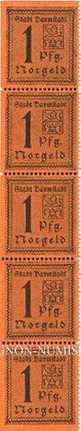 Banknotes Darmstadt. Stadt. Billet. 1 pf 1920, bloc de 5 exemplaires