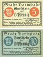 Banknotes Darmstadt. Stadt. Billet. 5 pf, 10 pf 15.12.1920