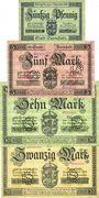 Banknotes Darmstadt. Stadt. Billet. 50 pf, 5 mk, 10 mk, 20 mk 1.11.1918