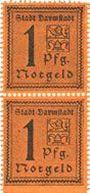 Banknotes Darmstadt. Stadt. Billets. 1 pf 1920, bloc de 2 exemplaires
