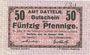 Banknotes Datteln. Amt. Billet. 50 pfennig 15.1.1918, numérotation à 3 chiffres
