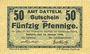 Banknotes Datteln. Amt. Billet. 50 pfennig 15.1.1918