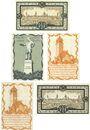 Banknotes Delitzsch. Stadt. Billets. 50 pf 1919 ; 5 pf, 10 pf 1920 ; 10 pf, 50 pf 1921