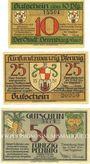 Banknotes Derenberg. Stadt. Billets. 10 pf, 25 pf, 50 pf 20.12.1920
