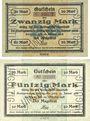 Banknotes Dessau. Stadt. Billets. 20 mark, 50 mark 30.10.1918