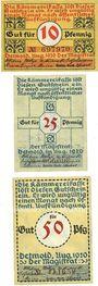 Banknotes Detmold. Stadt. Billets. 10 pf, 25 pf, 50 pf août 1920
