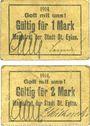 Banknotes Deutsch Eylau (Ilawa, Pologne). Stadt. Billets. 1 mark, 2 mark 1914