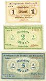 Banknotes Diessen am Ammersee. Marktgemeinde. Billets. 1, mark, 2 mark, 5 mark 22.4.1919