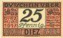 Banknotes Diez. Stadt. Billet. 25 pfennig juin 1917 - 31.12.1919