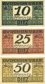 Banknotes Diez. Stadt. Billets. 10 pf, 25 pf, 50 pf juin 1917 - 31.12.1919