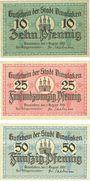 Banknotes Dinslaken. Stadt. Billets. 10 pf, 20 pf, 50 pf 1.8.1920