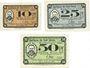 Banknotes Dömitz. Sparkasse der Stadt. Billets. 10 pf, 25 pf, 50 pf 10.7.1921