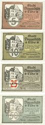 Banknotes Dommitzsch. Stadt. Billets. 5 pf, 10 pf, 25 pf, 50 pf 15.11.1920