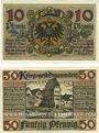Banknotes Donauwörth. Stadt. Billets. 10 pf nd ; 50 pf octobre 1918