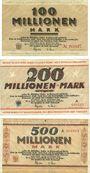 Banknotes Dortmund und Hörde. Stadt und Landkreise. Billets. 100, 200, 500 millions de mk 24.9.1923