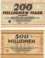 Banknotes Dortmund und Hörde. Stadt und Landkreise. Billets. 200, 500 millions de mk 24.9.1923