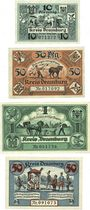 Banknotes Dramburg (Drawsko Pomorskie, Pologne). Kreisausschuss. Billets. 10, 50 (2), 1 mk 6.8.1920