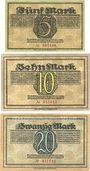 Banknotes Dresden-Altstadt. Amtshauptmannschaft. Billets. 5, 10, 20 mark 17.10.1918