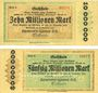 Banknotes Dresden. Ernemann-Werke A. G.. Billets. 10, 50 millions mark 28.9.1923