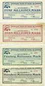 Banknotes Dresden. Konsumverein Vorwäts für Dresden & Umgegend. Billets. 5, 10, 50, 100 millions mk
