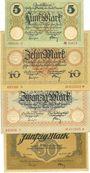 Banknotes Dresden. Stadt. Billets. 5, 10, 20 mark 1.11.1918, 50 mark 30.11.1918