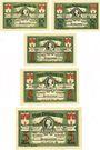 Banknotes Driburg. Bad. Spar- und Darlehenkasse. Billets. 25, 50 pf, 1, 2, 5 mk sept 1921