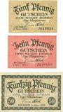 Banknotes Düben. Stadt. Billets. 5 pf, 10 pf, 50 pf 1.11.1919