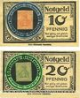 Banknotes Duisburg. Lustspielhaus. 73 Königstrasse. Billets. 10 pf, 20 pf Briefmarkengeld