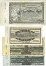 Banknotes Duisburg-Meiderich. Rheinische Stahlwerke Billets 1, 50, 100 (BB,AA) millions mk 8.8.1923