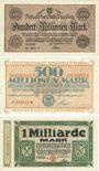 Banknotes Duisburg. Stadt. Billets. 100, 500  millions, 1 milliard  de mark du 25.9.1923
