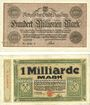 Banknotes Duisburg. Stadt. Billets. 100 millions, 1 milliard  de mark du 25.9.1923