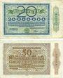 Banknotes Duisburg. Stadt. Billets. 20 millions, 50 millions de mark du 15.9.1923