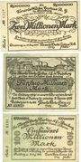 Banknotes Duisburg. Tonerde-Werke Curtius A. G.. Billets. 2, 50, 100 millions mk 15.8.1923