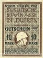 Banknotes Düren. Stadt. Billet. 10 mark 15.10.1918  imprimé sur 10 mark du 15.9.1917
